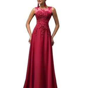Long Evening Dress Appliques Beading Red Chiffon